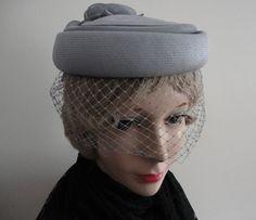 Vintage Grey Straw/Netting Women Hat BiBi 60s by LoukiesWorld, SOLD