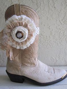 Boot Cuff Boot Flower Shabby Chic Rustic Farmgirl by AngelasAntics