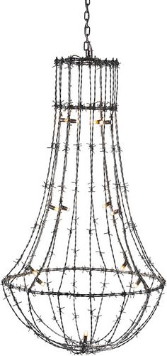 """Barbed Wire """"Chandelier""""....So cool!"""