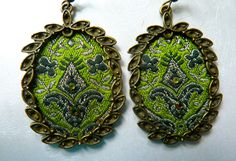 Earrings for majestic woman Green color Brass Earrings vintage Brocade fabric Swarovski crystals For your green eyes - pinned by pin4etsy.com