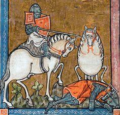 egg-horse  L'estoire de Merlin, France ca. 1316  BL, Add 10292, fol. 213r