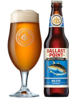 Ballast Point Big Eye (A)IPA is 7 ABV and 71 IBU.  Appearance and nose are all west coast IPA, golden orage, pillowy head and oily citrus hop.  The flavor is a great balance of the sweet malt and those piney citrus hops.  The mouthfeel is spot on, big and creamy but smooth and drinkable.  Ballast Point is a top notch brewery and I'd like to side by side compare this to the Sculpin IPA.