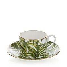 PALMERAL Tea Cup & Saucer - White / Green