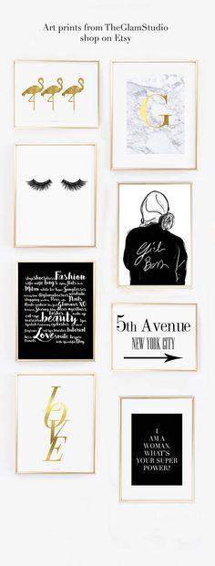 Girl Boss Girl Print Fashion Illustration Home decor Black and white print Idea regalo per lei Illustrazione di moda stampa decorazione casa