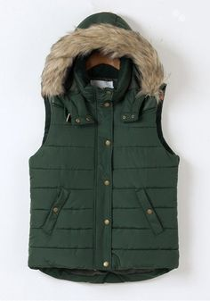 Green Plain Band Collar Hooded Pockets Cotton Vest