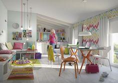 Hornbach Tutti Colori - living modern colorat Study Rooms, Interior Inspiration, Color Pop, Kids Rugs, Ornaments, Living Room, Diy, House, Decor Ideas