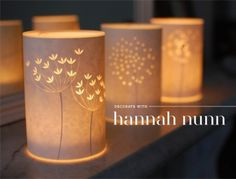 Paper artist Hannah Nunn was recently featured on Dearest Nature. In particular, the post highlighted her new, gorgeous papercut luminaries.