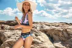 For a pool-ready peach, treat yourself to the stylish pink and palm Paradiso High Waisted bikini bottoms. Soft, fully lined and flexible, they stay opaque when wet and keep your tummy tucked in as you swim or sunbathe.  Perfect for the beach, pool or spa, you'll love the supple material that retains its bounce and brightness thanks to chlorine resistance and LYCRA. UPF50+ provides ultimate sun protection for al fresco swims and soaking up rays. Tummy Tucks, High Waisted Bikini Bottoms, Beach Pool, Sun Protection, Fresco, Things That Bounce, Bikinis, Swimwear, Palm