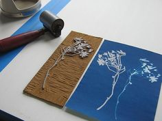 Printing flowers:  linocut & sunprint together. Freshlyblended.blogspot.com