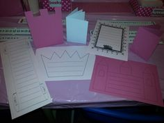 Some of the resources available on Mr Tickled Pink's writing table, linked to our topic about castles, princesses and knights! The children have been writing invitations to a royal banquet, messages to knights and queens, stories, lists of people who live in the castle, and even lists of jobs for the maid to do! LG☆