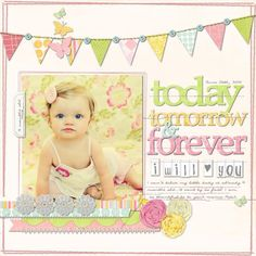 Creating A Children's Birthday Scrapbook – Scrapbooking Fun! Baby Girl Scrapbook, Baby Scrapbook Pages, Scrapbook Titles, Scrapbook Designs, Scrapbook Page Layouts, Scrapbook Paper Crafts, Scrapbook Cards, Scrapbooking Ideas, Kids Scrapbook Ideas