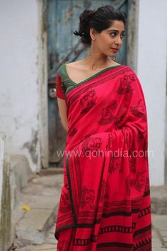Red Rocking Horse Hand Block Printed Mul Cotton Saree