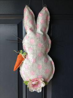 #Easter bunny burlap door hanger