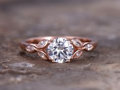 6.5mm Round Cut 1ct Engagement ring,925 sterling silver wedding band,8-prongs CZ Bridal ring,Retro vintage,marquise bezel,rose gold plated by artsjewel on Etsy https://www.etsy.com/listing/462691380/65mm-round-cut-1ct-engagement-ring925