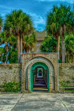Atalaya Castle by park sky beach clouds brick palms state palmetto trees murrells inlet SC South Carolina Huntington a Murrells Inlet Sc, Palmetto Tree, Back Road, John Muir, Fishing Villages, Places Of Interest, Huntington Beach, South Carolina, State Parks