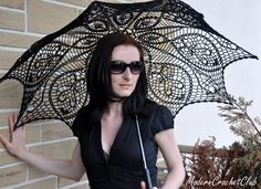 BLACK crochet umbrella  victorian lace by ModernCrochetClub, $99.99