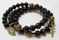 5 Decade Rosary bracelet, Black Agate, Brown, Golden, memory wire, Five decade Rosary bracelet (4) via Etsy