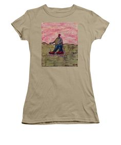 Figure Women's T-Shirt (Junior Cut) featuring the painting I Only Go For Walks In My Red Hat And Red Shoes by Mario Perron http://1-mario-perron.pixels.com/ #style #art