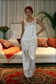 Isadora Satin and Lace Pajama Sleepwear Lingerie Bridal