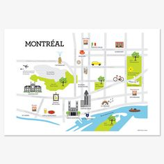 This Montreal map print features the city's most beloved neighbourhoods, from Westmount to Hochelaga; from the Old Port to Little Italy. Montreal Map, Quebec Montreal, Map Of Italy Regions, Italy Map, Plan Ville, Walking Map, Tourist Map, Information Graphics, Map Design