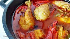 Con pan y postre: Pollo al chilindrón / Chilindrón style chicken