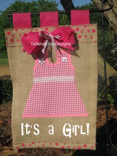 Welcome Baby Girl Burlap Wall Banner or by TallahatchieDesigns, $25.00