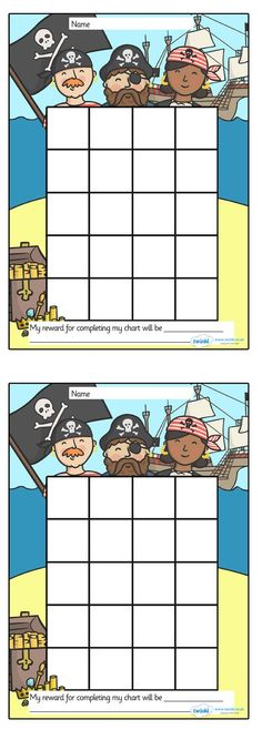 free printables. Pirate Sticker Stamp Reward Chart.