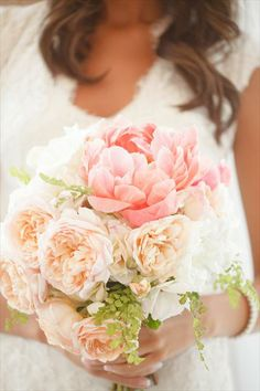 Rustic Wedding bouquet.. Beautiful freshly opened peonies and garden flowers. Want this.