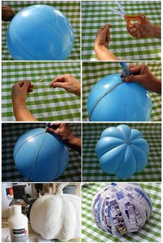Brilliant idea for making a paper mache pumpkin: