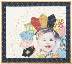 Print, then frame a favorite photo with a Dresden Plate and big-stitch quilting. Finished quilt: Designer: Jenny Novinsky for The Electric Quilt Company Baby Scrapbook, Scrapbook Paper Crafts, Scrapbook Cards, Baby Mini Album, American Patchwork And Quilting, Dresden Plate Quilts, Cute Scrapbooks, Photo Quilts, Electric Quilt