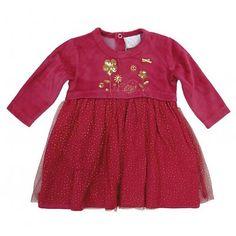 Mini Moi: Velours dress with tule, 3-24 mnd