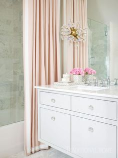 Spotlight On Melanie Turner Interiors (Redux) Pink Quatrefoil Wallpaper, White Beveled Subway Tile, Pink Shower Curtains, Pink Showers, Tub Tile, Beautiful Bathrooms, Romantic Bathrooms, White Bathrooms, Upstairs Bathrooms