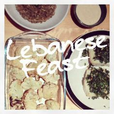 Lebanese feast, Dairy free, Gluten free, Roasted cauliflower, Tahini dip, Green lentils with rice and caramelized onions, MS, Diet, Multiple Sclerosis, Healthy