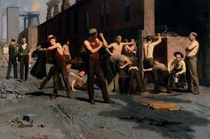 The Ironworkers' Noontime, 1880 by Thomas Pollock Anshutz. Realism. genre painting. Fine Arts Museums of San Francisco, San Francisco, CA, US