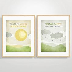 """You Are My Sunshine Wall Art, Yellow and Grey Nursery decor, Set of 2 Prints, Unframed. Discounted set of 2 nursery art prints with illustrated song quote """"You are my sunshine my only sunshine..."""" Printed on 100% cotton paper with vivid pigment inks. Prints come unframed."""
