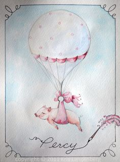 Percy heading to the circus.  Original hand-painted watercolor by me, Kris Langenberg.  Circus art