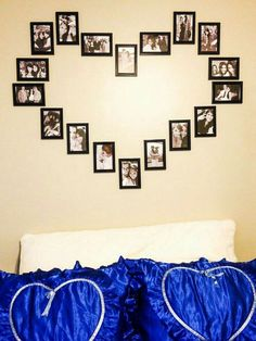 Awesome 55 Romantic Bedroom Decor Ideas for Couple source : ideabosdecoration. decor for couples 55 Romantic Bedroom Decor Ideas for Couple Heart Picture Collage, Picture Frame Art, Picture Wall, Photo Wall, Heart Collage Of Pictures, Heart Shaped Photo Collage, Diy Home Decor Rustic, Diy Room Decor, Romantic Bedroom Decor