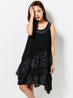 Ghost of Harlem - Georgette Flocky Dress Black - XENON Los Angeles