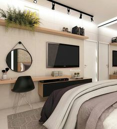 58 best minimalist bedroom design you must try 1 Tv In Bedroom, Woman Bedroom, Home Decor Bedroom, Modern Bedroom, Master Bedroom, Contemporary Bedroom, Bedroom Wardrobe, Bedroom Curtains, Diy Bedroom