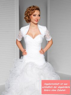 Braut Satin-Spitzen-Bolero Kurzarm