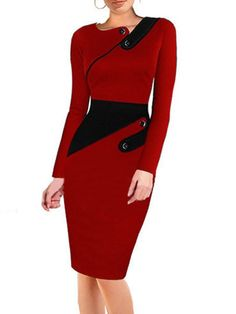 Stylish Decorative Buttons Assorted Colors Bodycon-dress