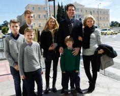 Noblesse & Royautés: The Crown Princely Family of Greece arrive to celebrate the 50th anniversary of King Paul's death-Achileas, Odysseas, Constantine, Maria-Olympia, Pavlos, Aristidis, Marie-Chantal