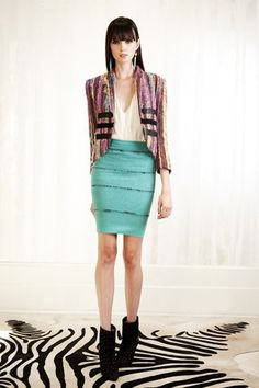 Aqua pencil skirt, white top, tweed jacket