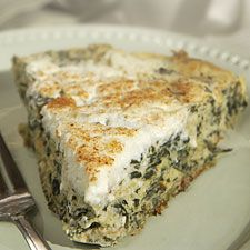 """This lower-fat, healthier spinach quiche doesn't require rolling and fitting a crust; it """"miraculously"""" forms its own whole-grain crust as it bakes. P.S. Step-by-step photos illustrating how to make this quiche are available at  Flourish,  our King Arthur blog."""