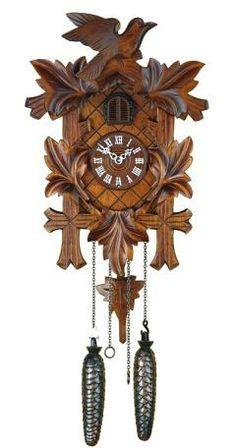 Reloj cucú de cuarzo 5 follajes, pájaro, Fabricante: Trenkle Uhren Altura: 35 cm. / 13,8 pulg. Ancho: 23 cm. / 9,1 pulg. Profundidad: 11 cm. / 4,3 pulg. Color: Nogal Peso bruto: 3 kg