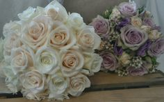 champagne, ivory and lilac bridal bouquet