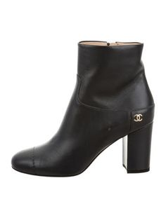 Chanel Leather CC Round-Toe Ankle Boots