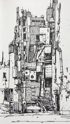 Architectural sketches 552042866824327580 - Ian McQue Sketches Collection Source by Jieezzus Ink Illustrations, Illustration Art, Arte Do Hip Hop, Environment Sketch, Ink Pen Drawings, Perspective Drawing, Cyberpunk Art, Landscape Drawings, Urban Sketching