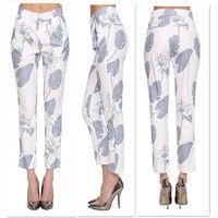 Wish | Fashion Women Floral Printed Skinny Leggings Harem Pants Slim Long Pencil Trousers