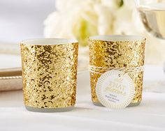"""Kate Aspen's """"All The Glitters"""" Gold Glitter Votive Holder, perfect for gold glam weddings, gold glam bridal, birthday parties or great Gatsby themed weddings. #myweddingfavors #goldglam #goldglamweddings"""